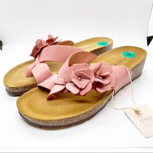 A. Giannetti Leather Sandals Dusty Rose Floral 8